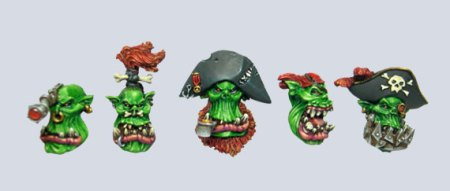Set of pirate ork heads